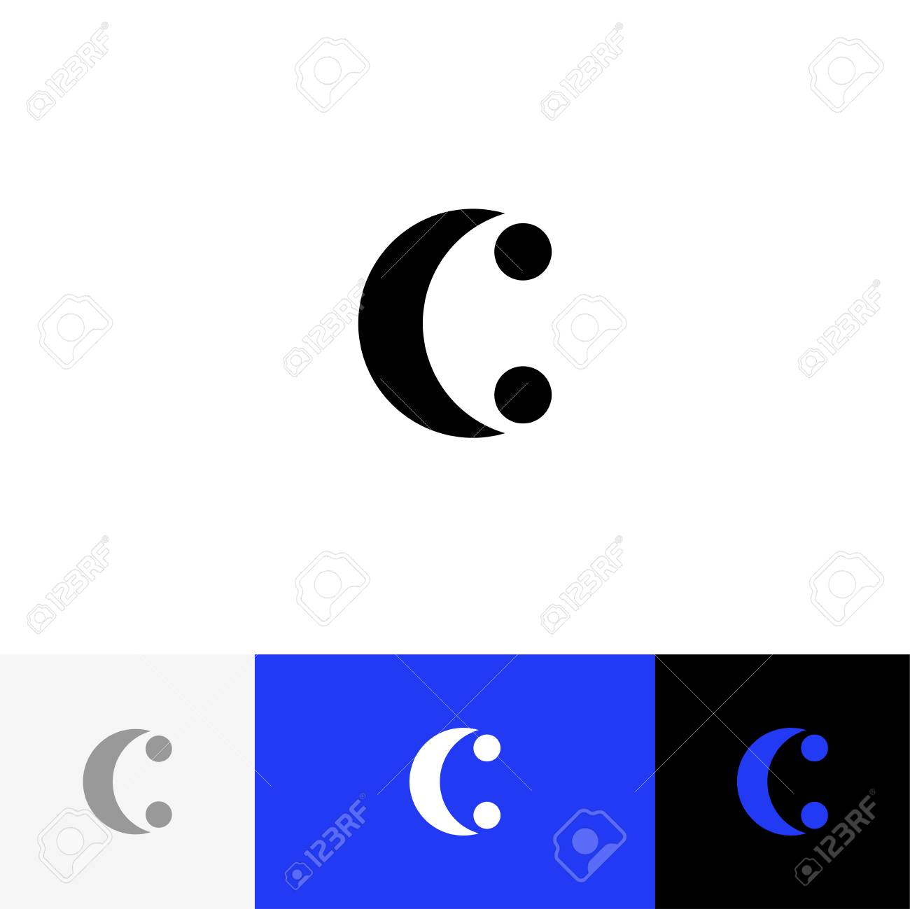 C With Two Dots Vector Minimalism Logo Icon Symbol Sign From