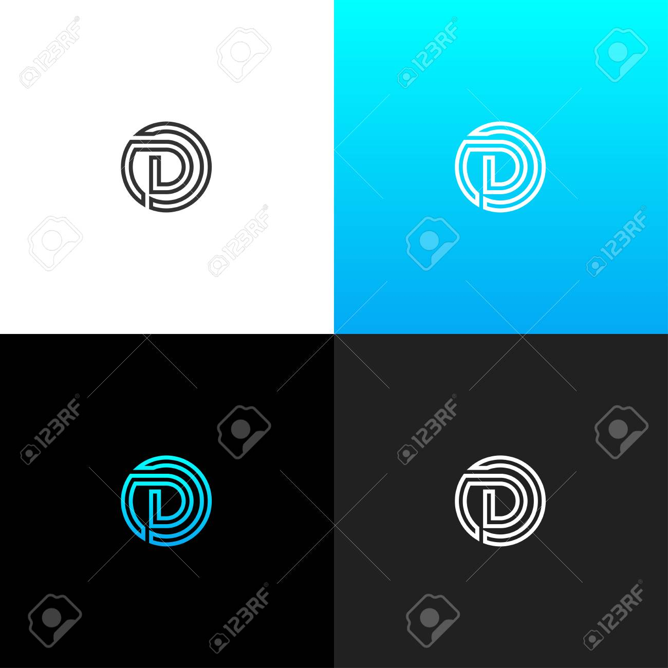 3b2fd0b2e1 Logo D in line circle. Linear logo of the letter d for companies..