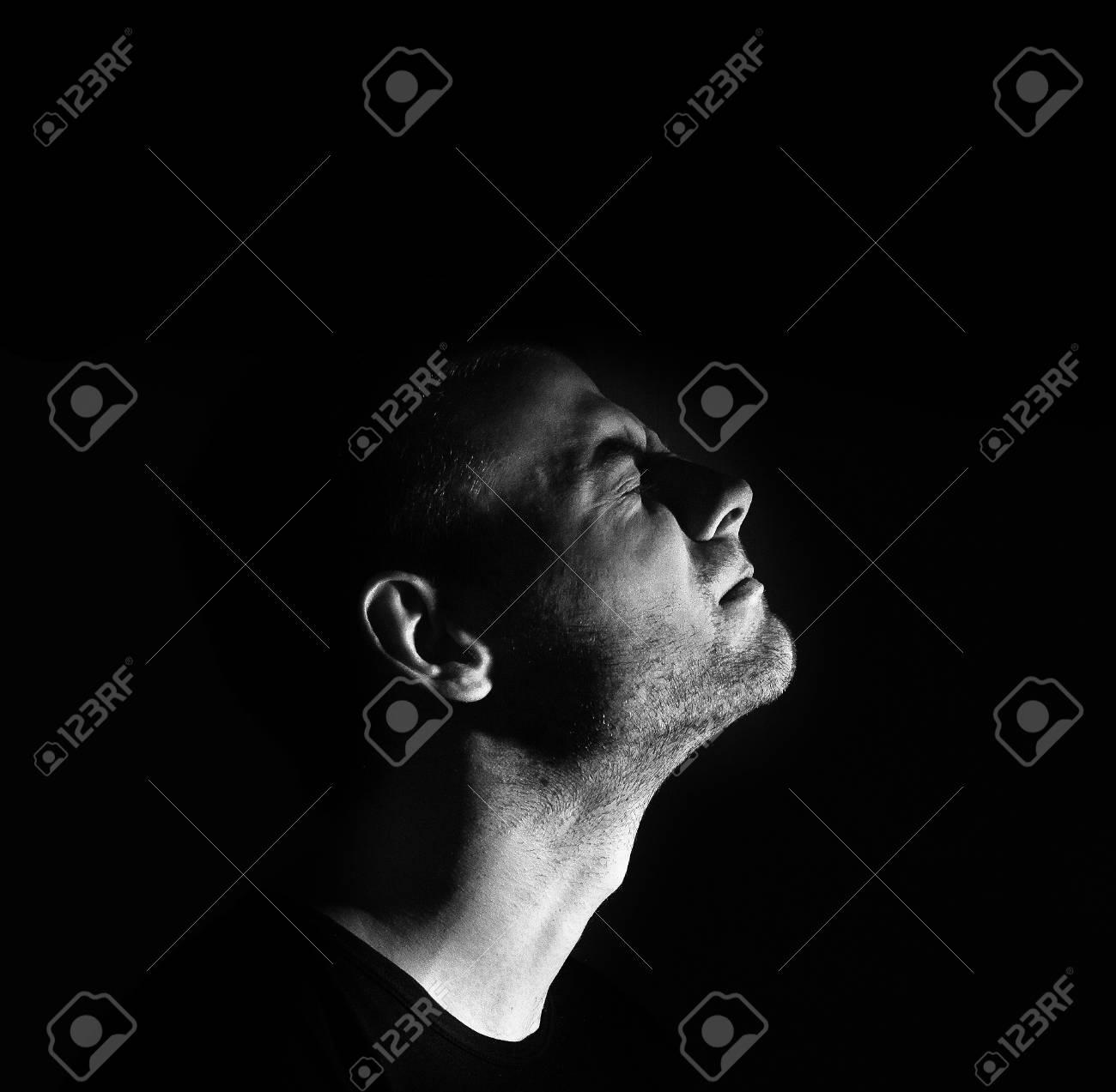Dark man profile depression black and white stock photo 72020768