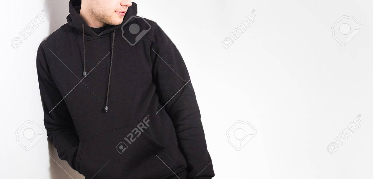 The Guy In The Blank Black Hoodie eace13e2ca83