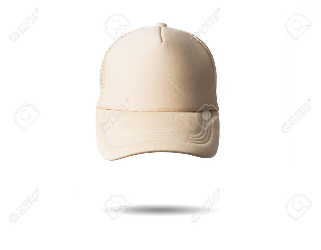 Foto de archivo - Gorra de béisbol color beige blanco sobre fondo blanco  aislado dbb717a2b47