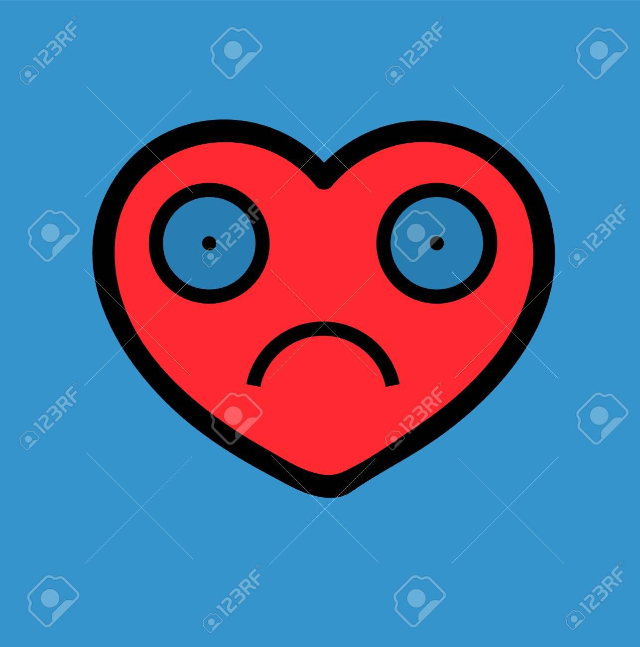 Icône De Coeur Triste Image Vectorielle Concept Damour Malheureux