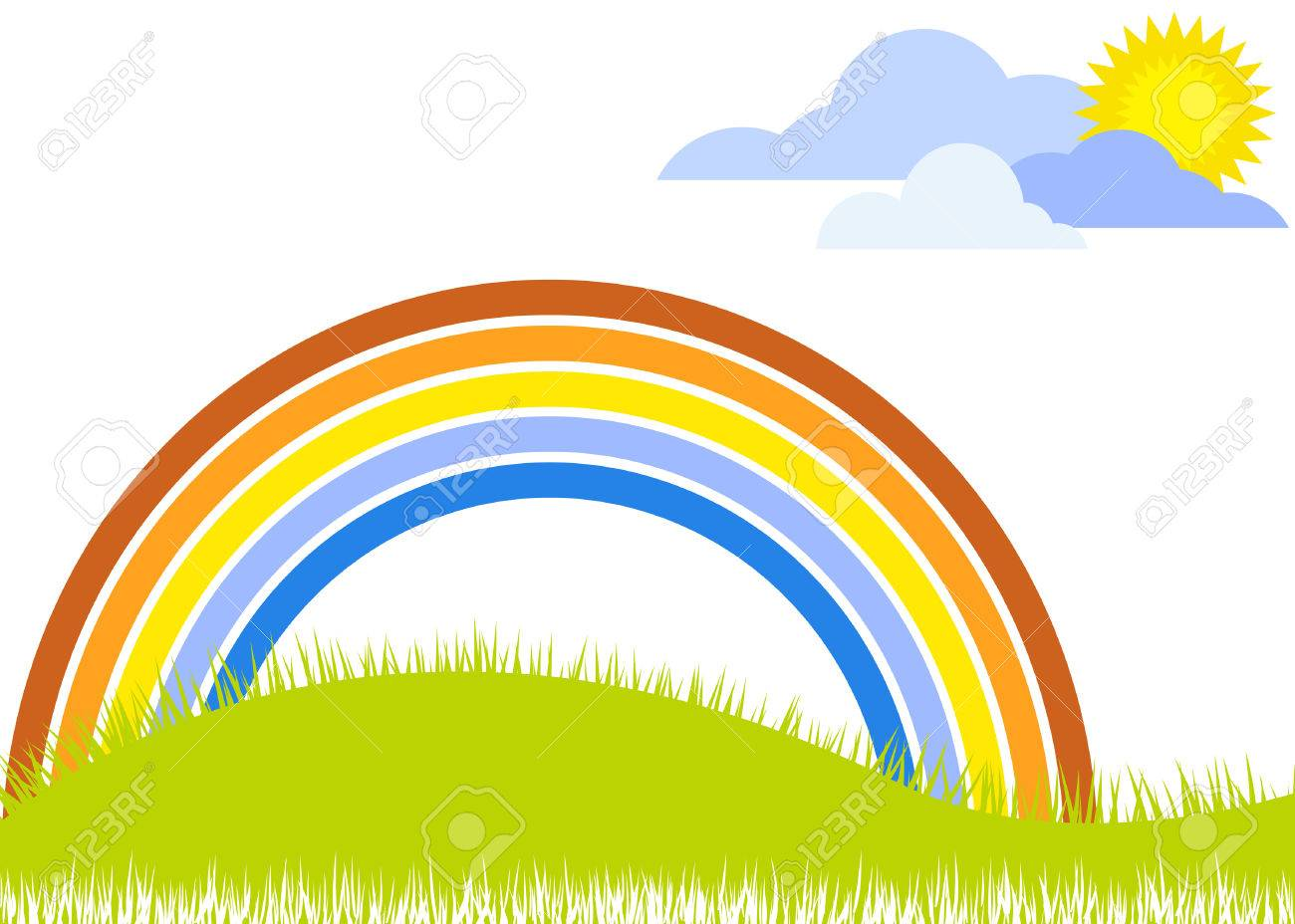 landscape with rainbow and grass Stock Vector - 2106119