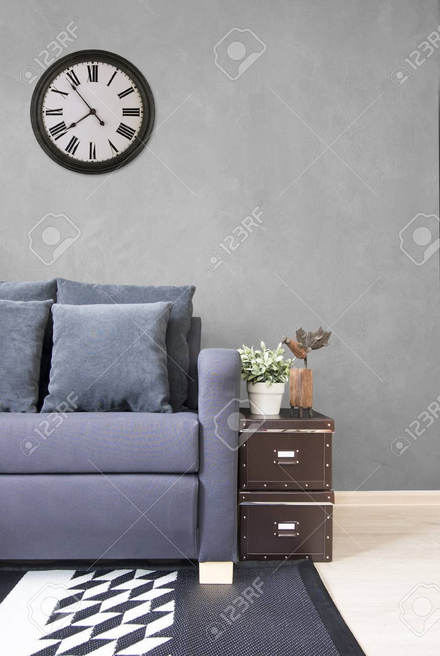 Phenomenal Living Room Navy Blue Satin Sofa With Boxes And Cement Wall Machost Co Dining Chair Design Ideas Machostcouk