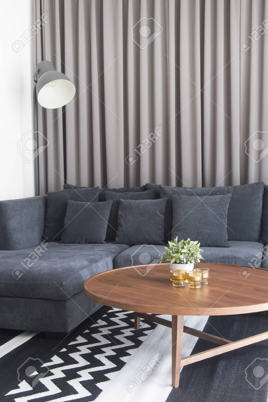 Swell Cozy Living Room With Navy Blue Satin Sofa And Candles On Wood Machost Co Dining Chair Design Ideas Machostcouk