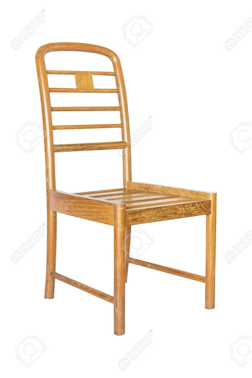 Fabelhaft Stuhl Holz Dekoration Von Altes Isoliert Auf Weißem Hintergrund. Standard-bild -