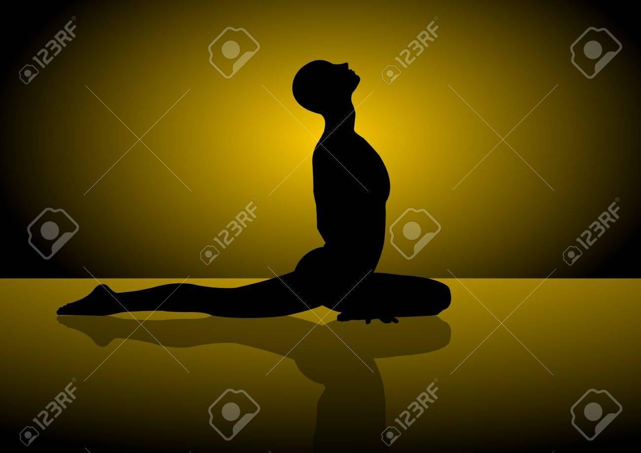A Vector silhouette of a man doing yoga Stock Vector - 12291568