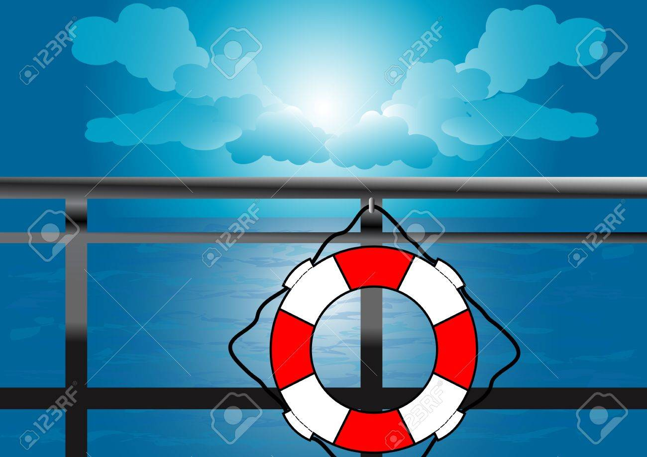 A Vector illustration of a life saver hanged in a ship Stock Vector - 12416784