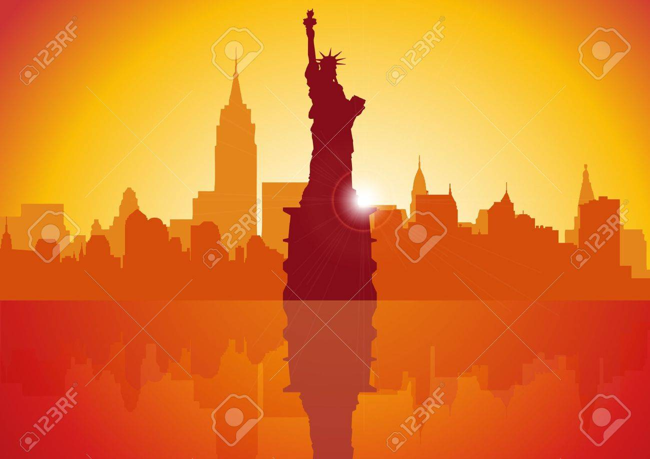 A Stock Vector illustration of New York City at Sunset Stock Vector - 13199196