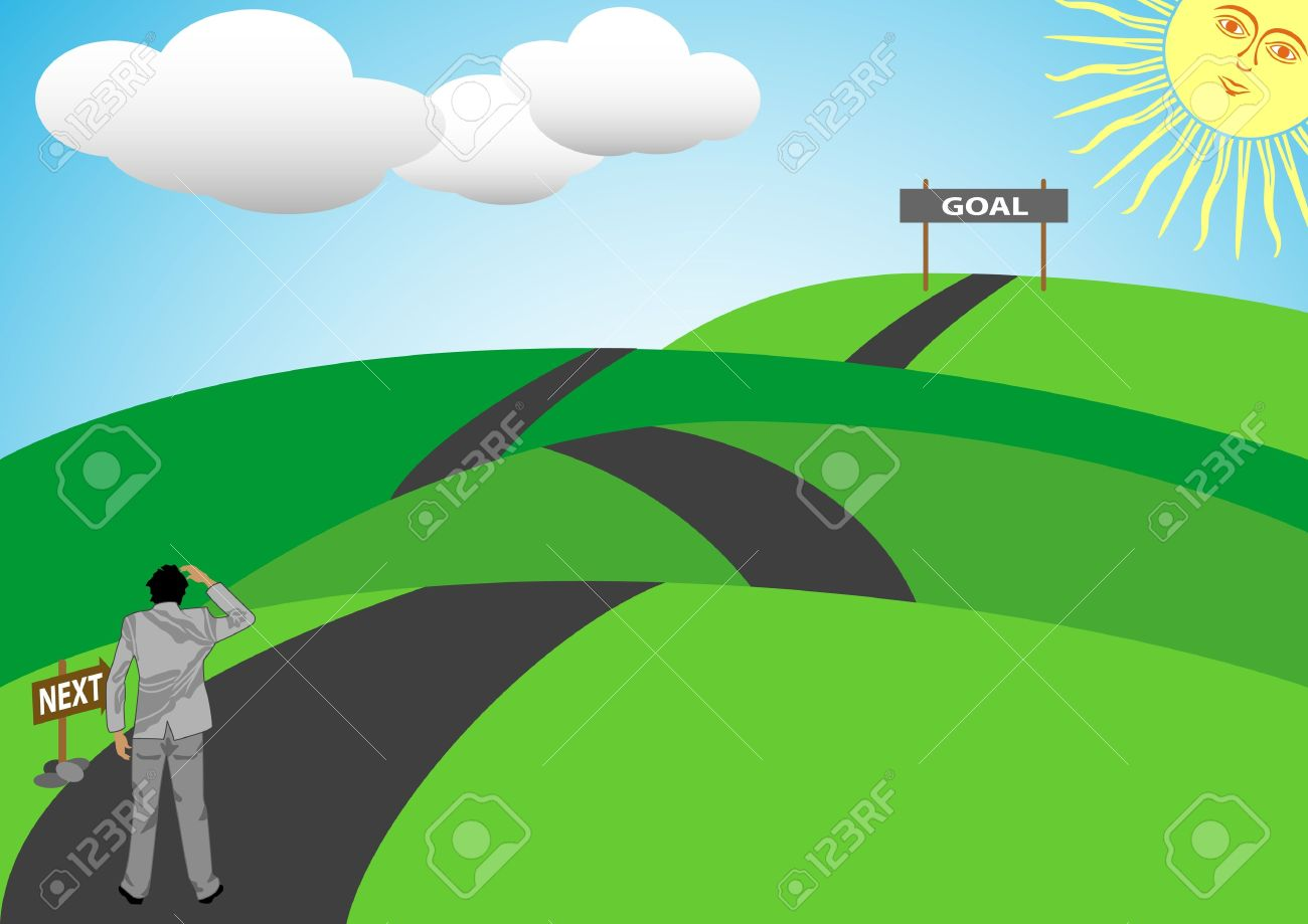 A Stock Vector illustration of a man walk in a long road up and down a hill to achieve his goal in life Stock Vector - 13199185