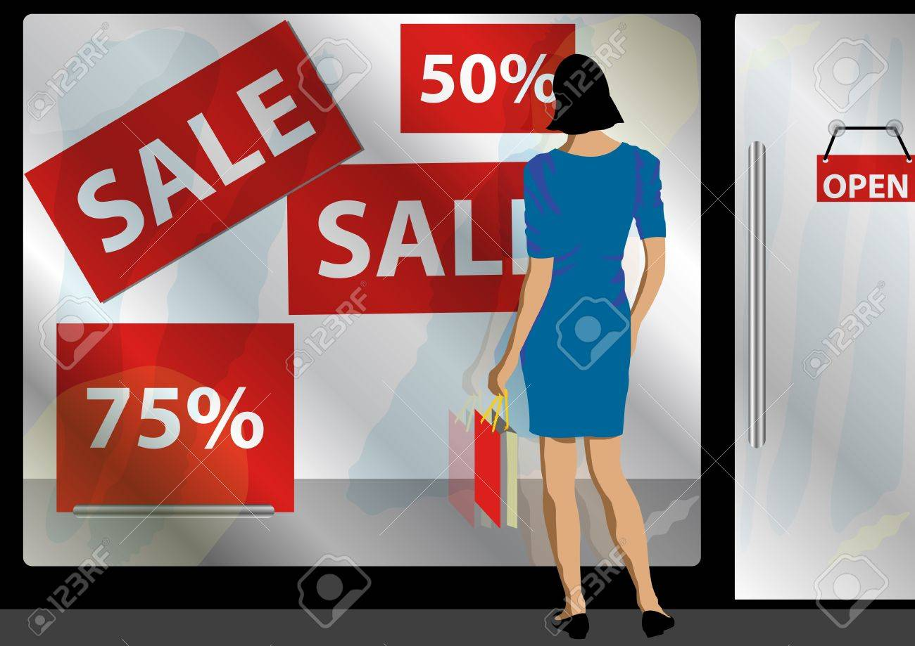 A Stock illustration of a women standing in front of a shop window attracted with sale and promotion Stock Vector - 13285856