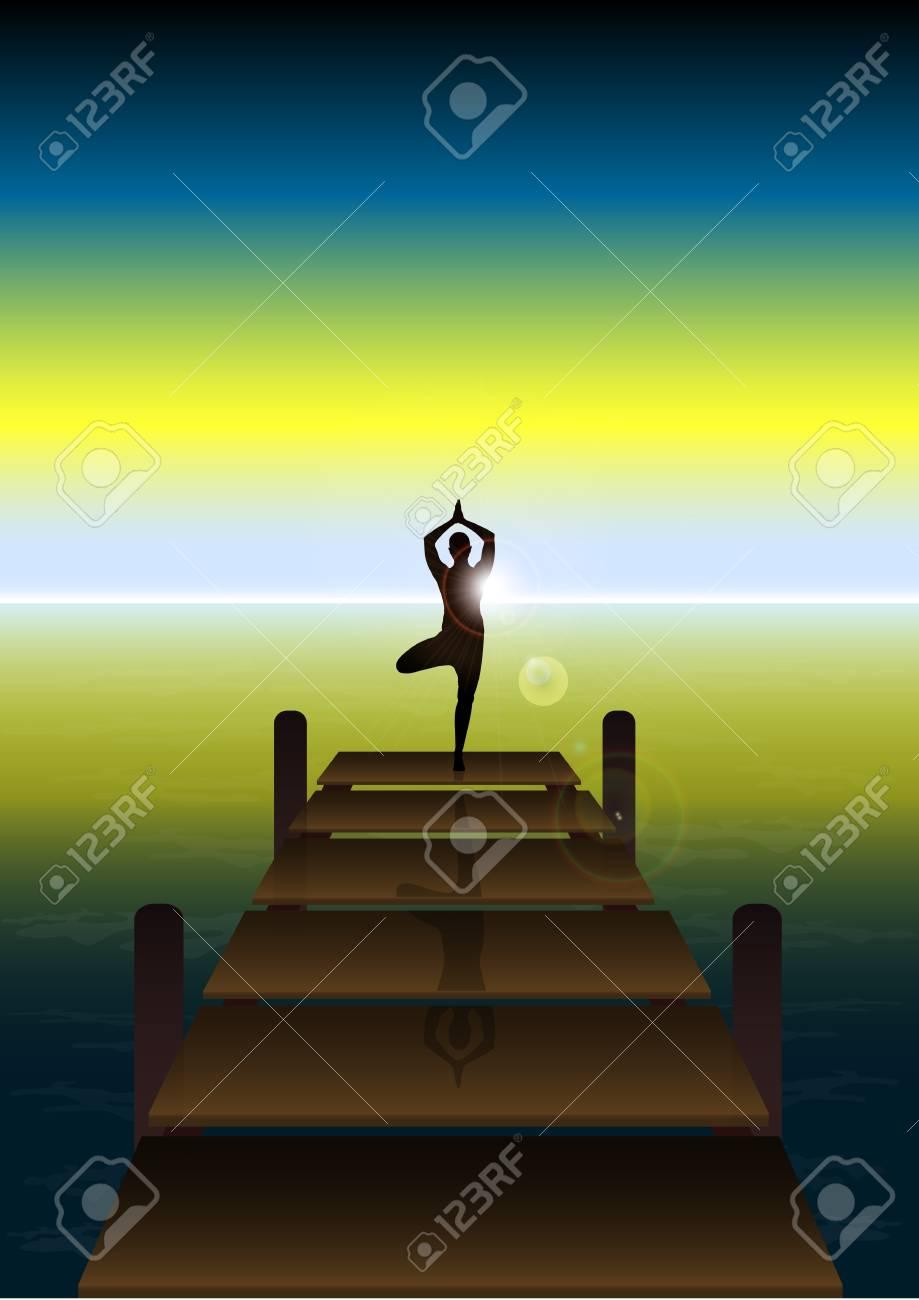 Stock Vector illustration of Yoga on a Sunset at Beach Bridge 2 Stock Vector - 15751870