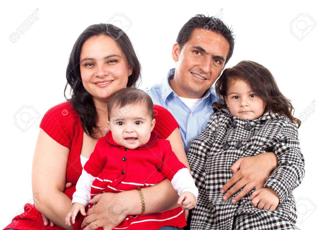 Beautiful Happy young family over white Stock Photo - 13905524