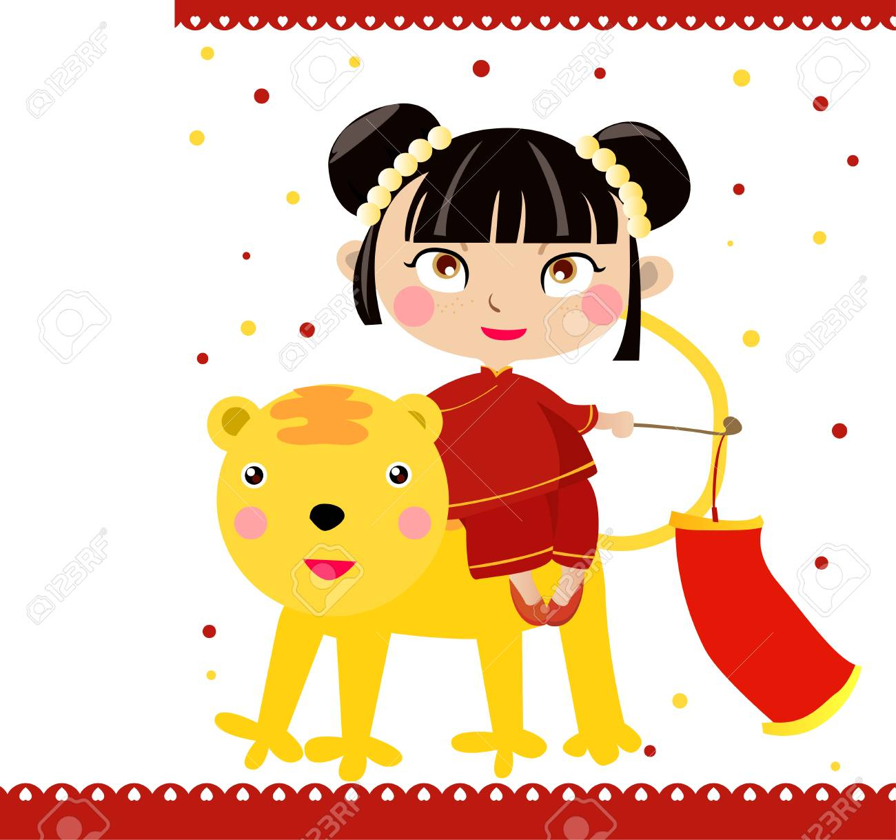 Chinese girl and tiger Stock Vector - 6303400
