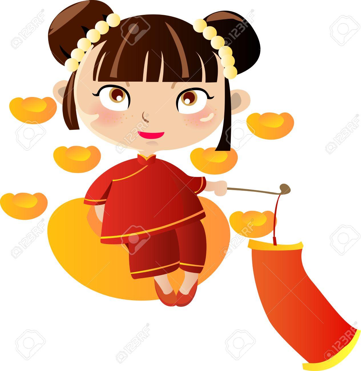 中国のかわいい美しい女の子のイラストのイラスト素材ベクタ Image