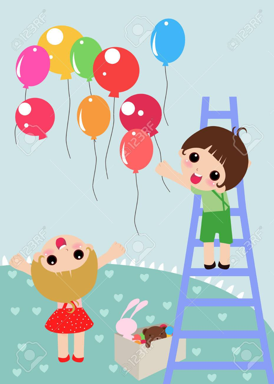 illustration of  two kids ready for party Stock Vector - 6512699