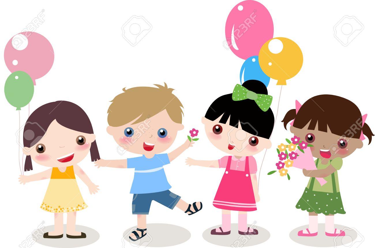 イラストかわいい 4 人の子供 - 男の子と女の子 ロイヤリティフリー