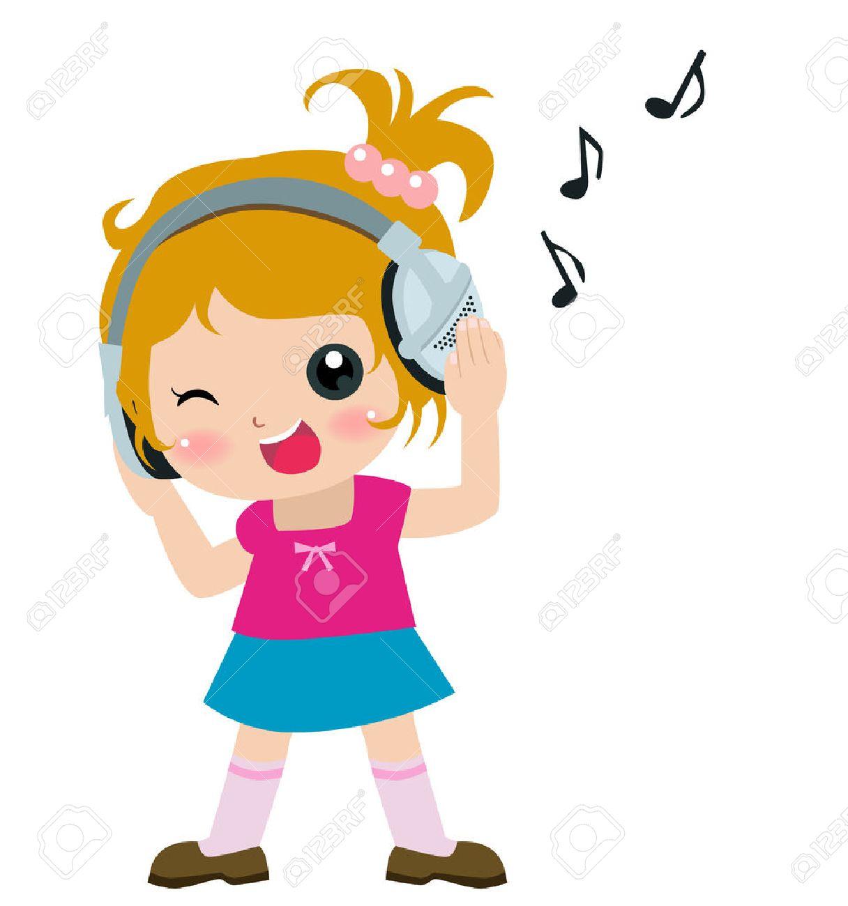 かわいい女の子の音楽を聴くのイラスト ロイヤリティフリークリップ