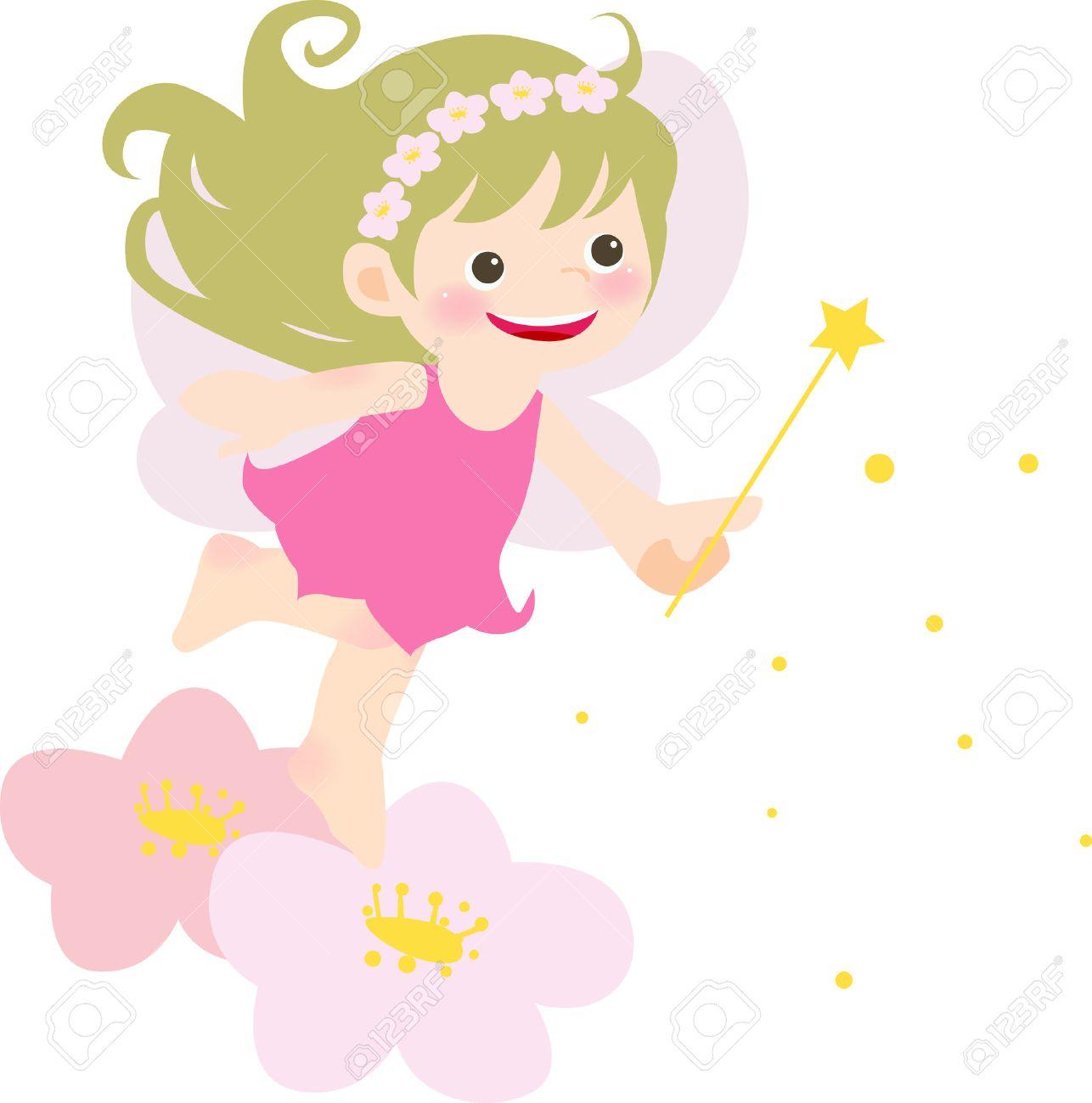 小さな妖精のかわいい女の子のイラスト ロイヤリティフリークリップ