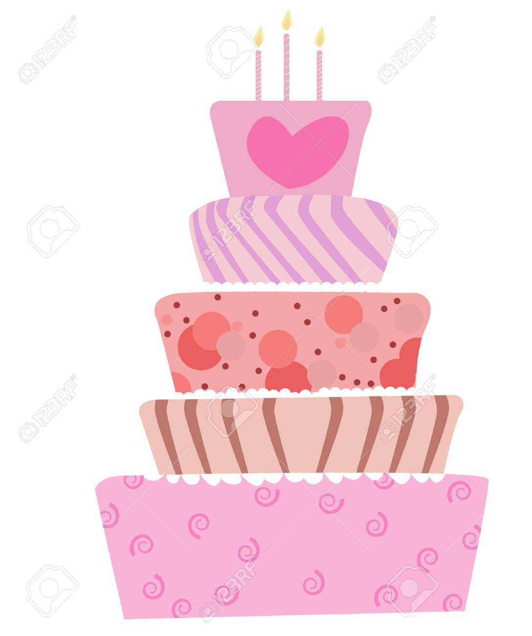 illustration of a cute cake for birthday or wedding Stock Vector - 6364254