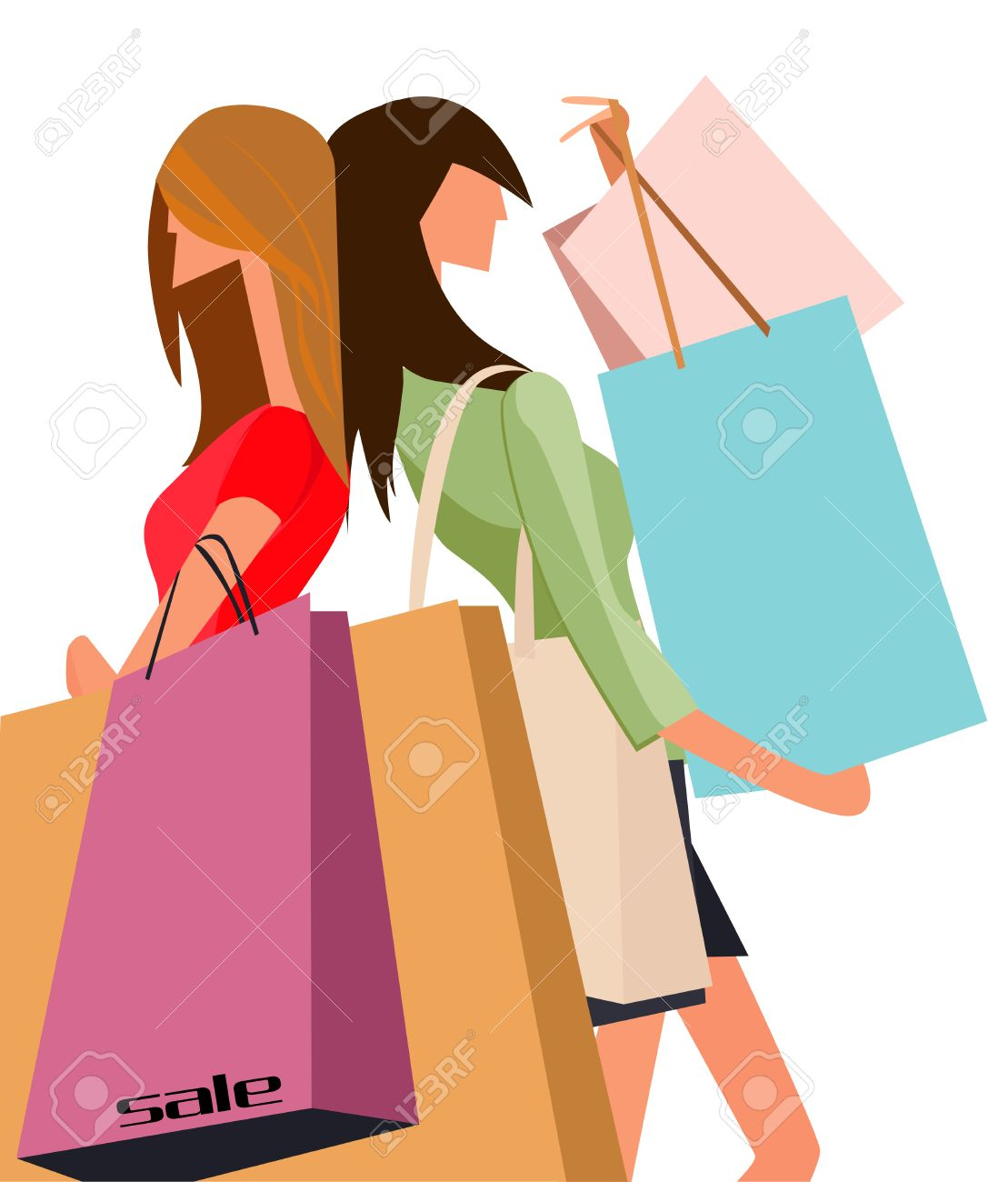 illustration of two fashion shopping girls with shopping bag Stock Vector - 6484844