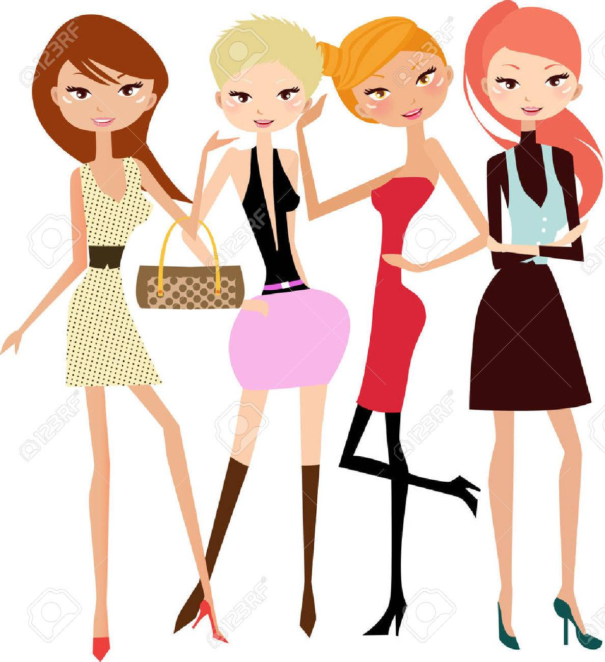 illustration of five pretty fashion women-model Stock Vector - 6530396