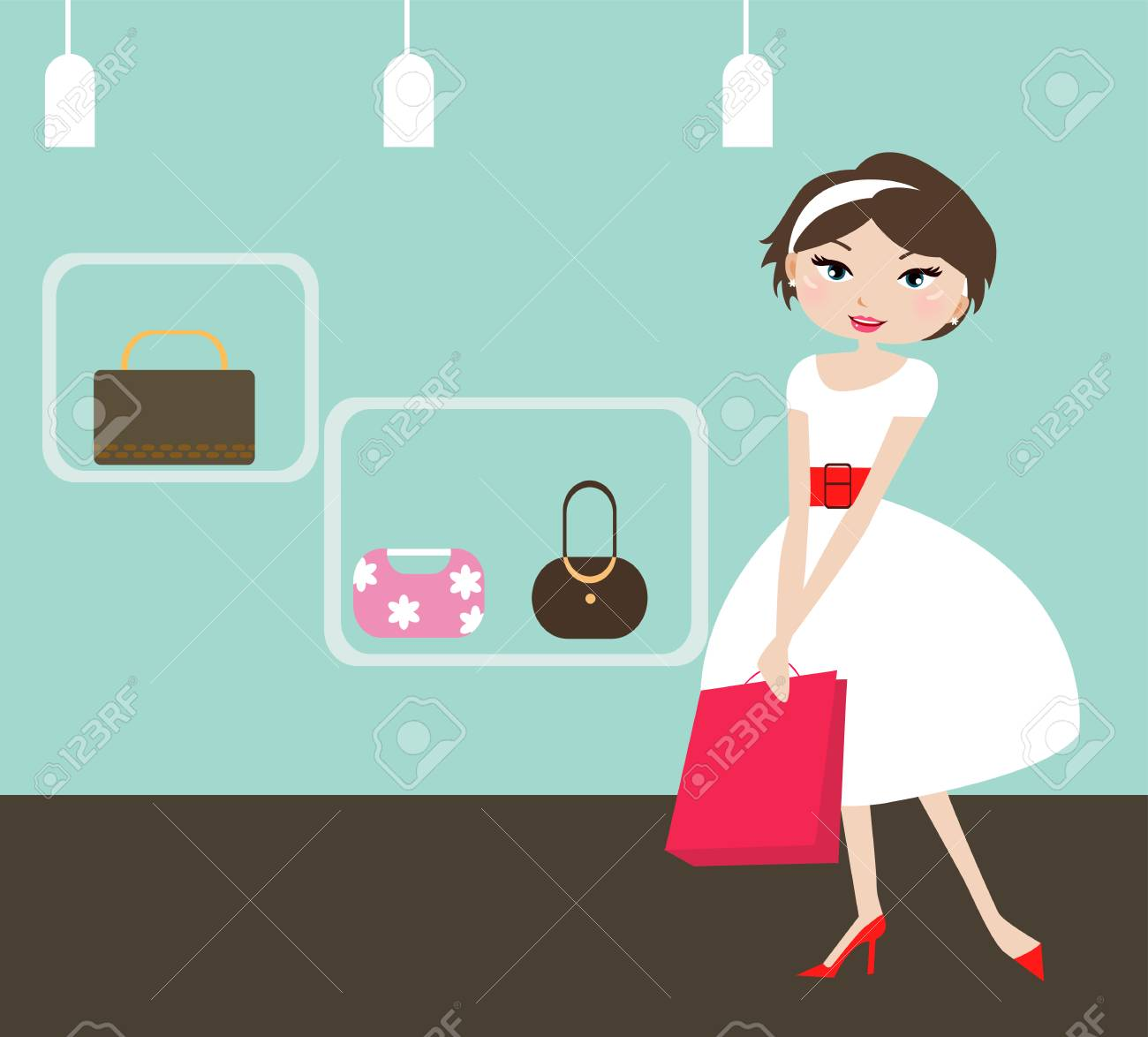 illustration of a beauty shopping girl with shopping bag Stock Vector - 6655794