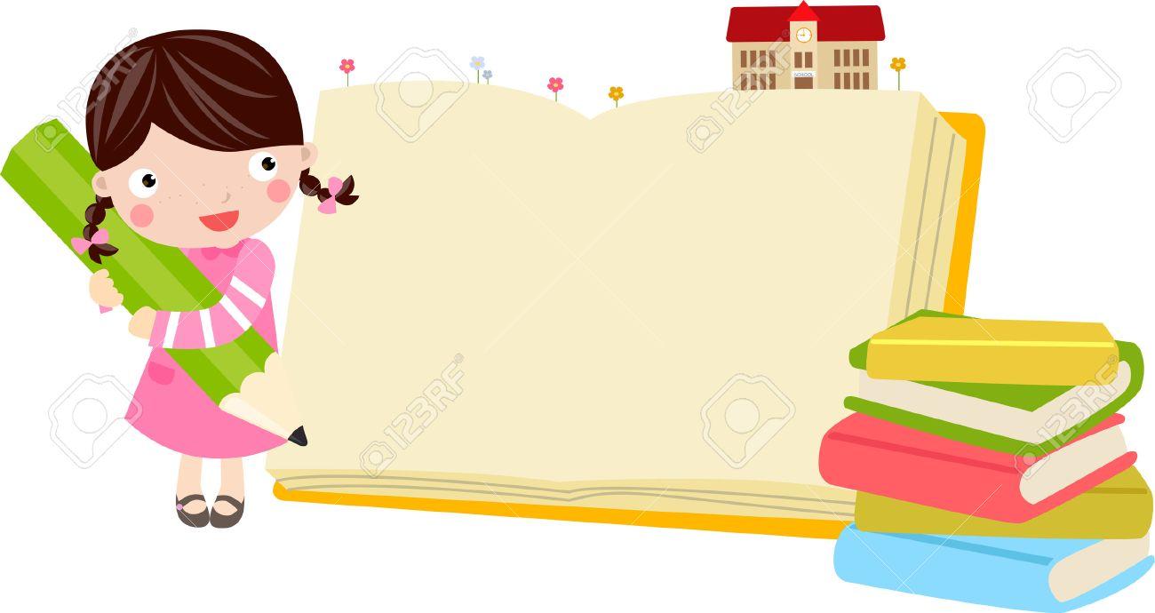本と鉛筆でかわいい女の子のイラスト ロイヤリティフリークリップアート