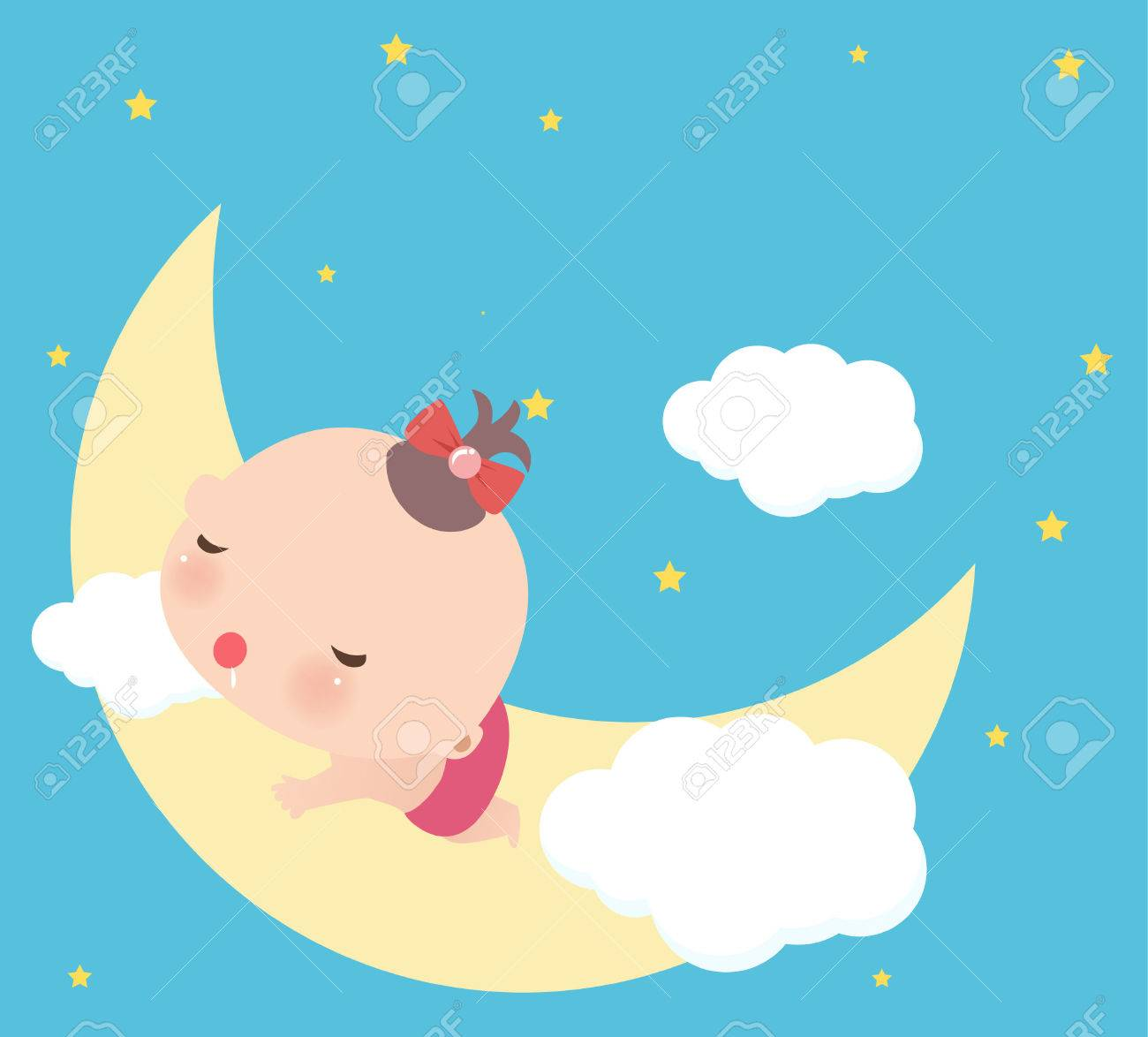 Illustraon Of A Cute Little Baby Girl Sleeping Royalty Free ...