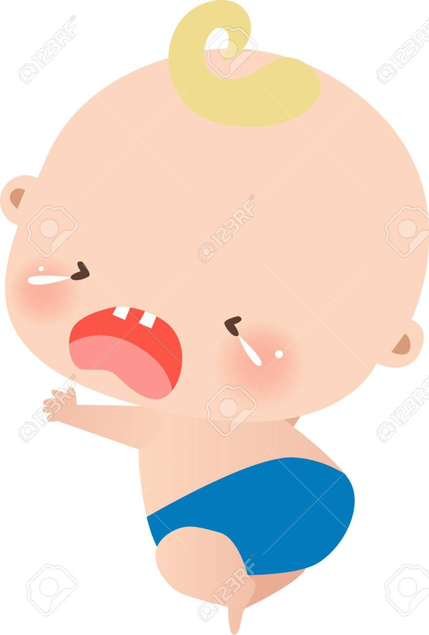 Illustraon of a cute little baby boy crying Stock Vector - 8069953
