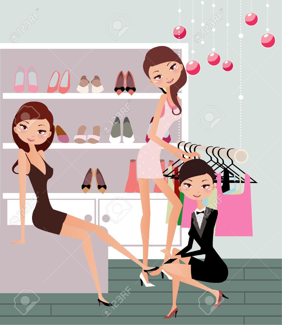 Illustraon Of Three Fashion Women Shopping For Shoe Royalty Free