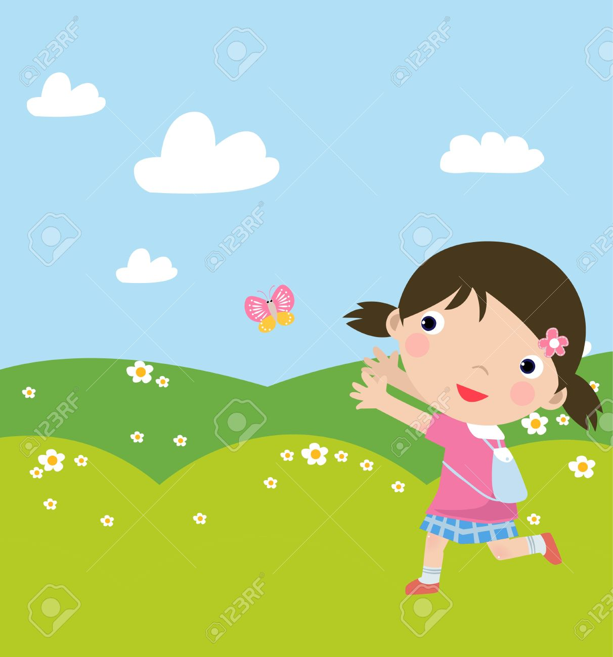 Illustraon of  a cute girl walking and butterly Stock Vector - 8887125