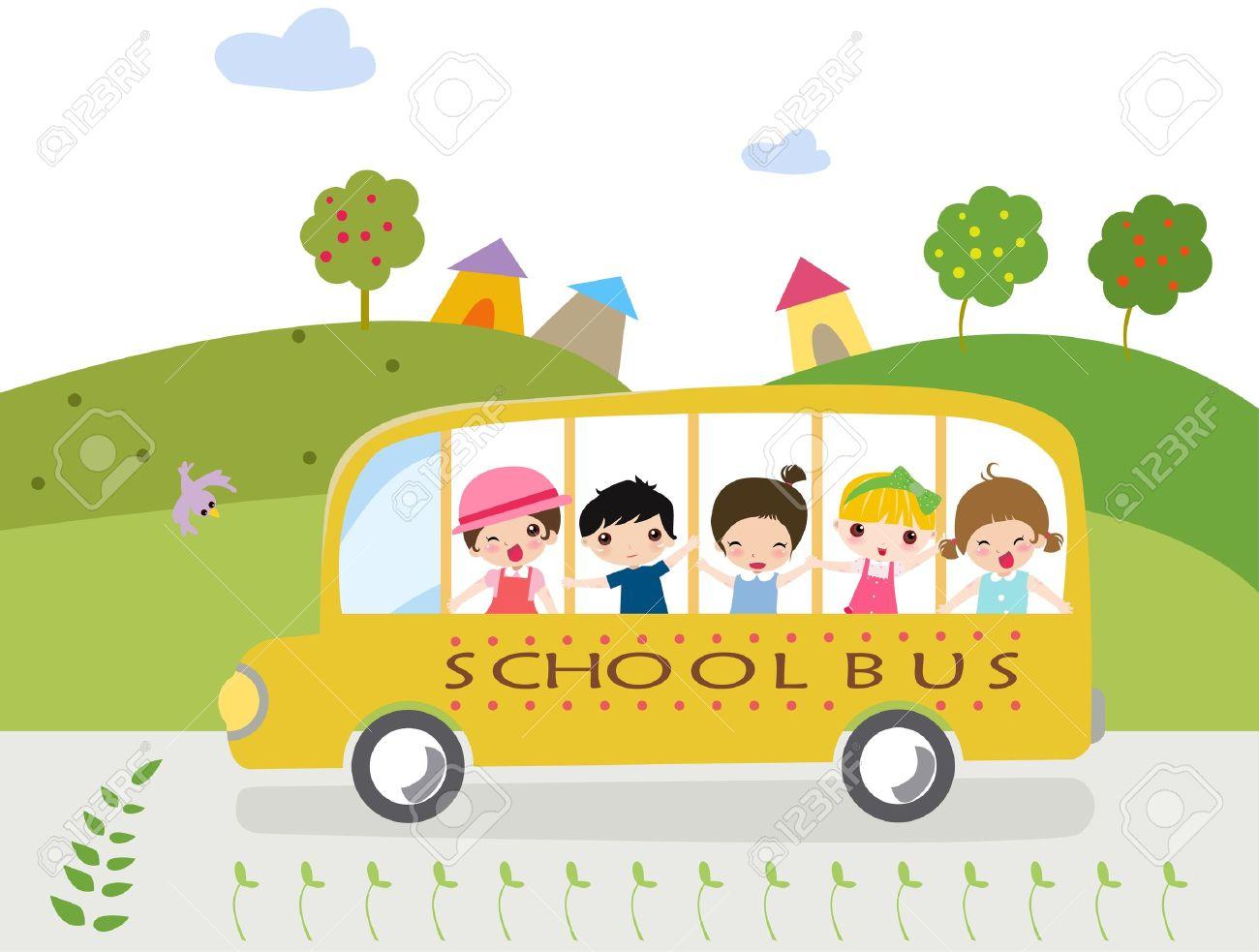 Cartoon school bus with kids - illustration. Stock Vector - 8887157