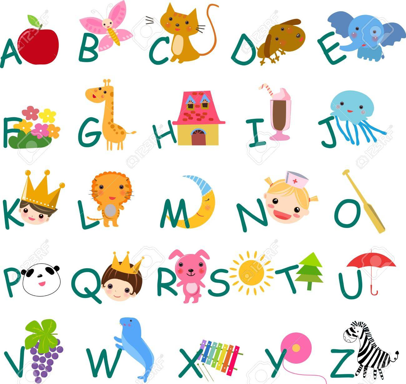 alphabet with pictures Stock Vector - 8887151
