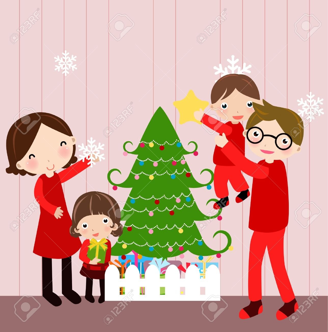 Illustration Of Happy Family At Christmas Stock Vector