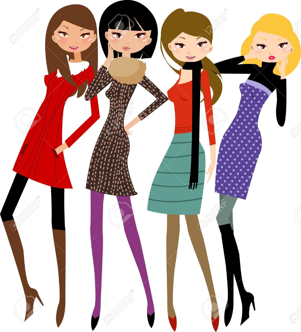 Group Girls Clipart Group of Friends Pretty Girl