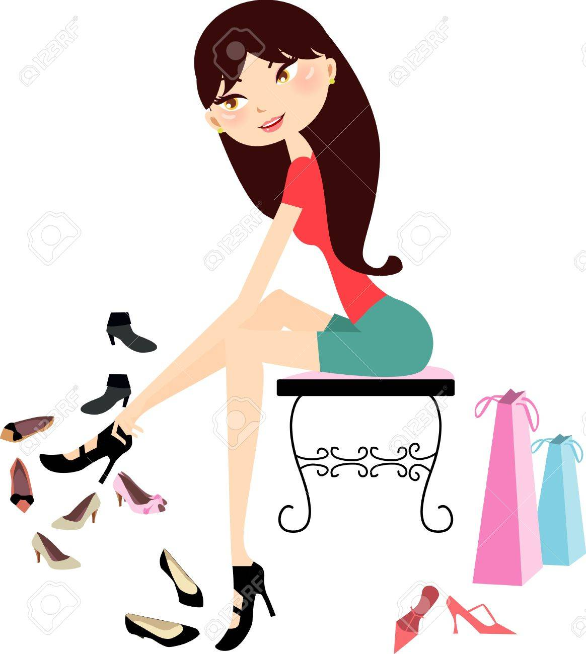 Pretty girl shopping in a shoe shop Stock Vector - 9774567