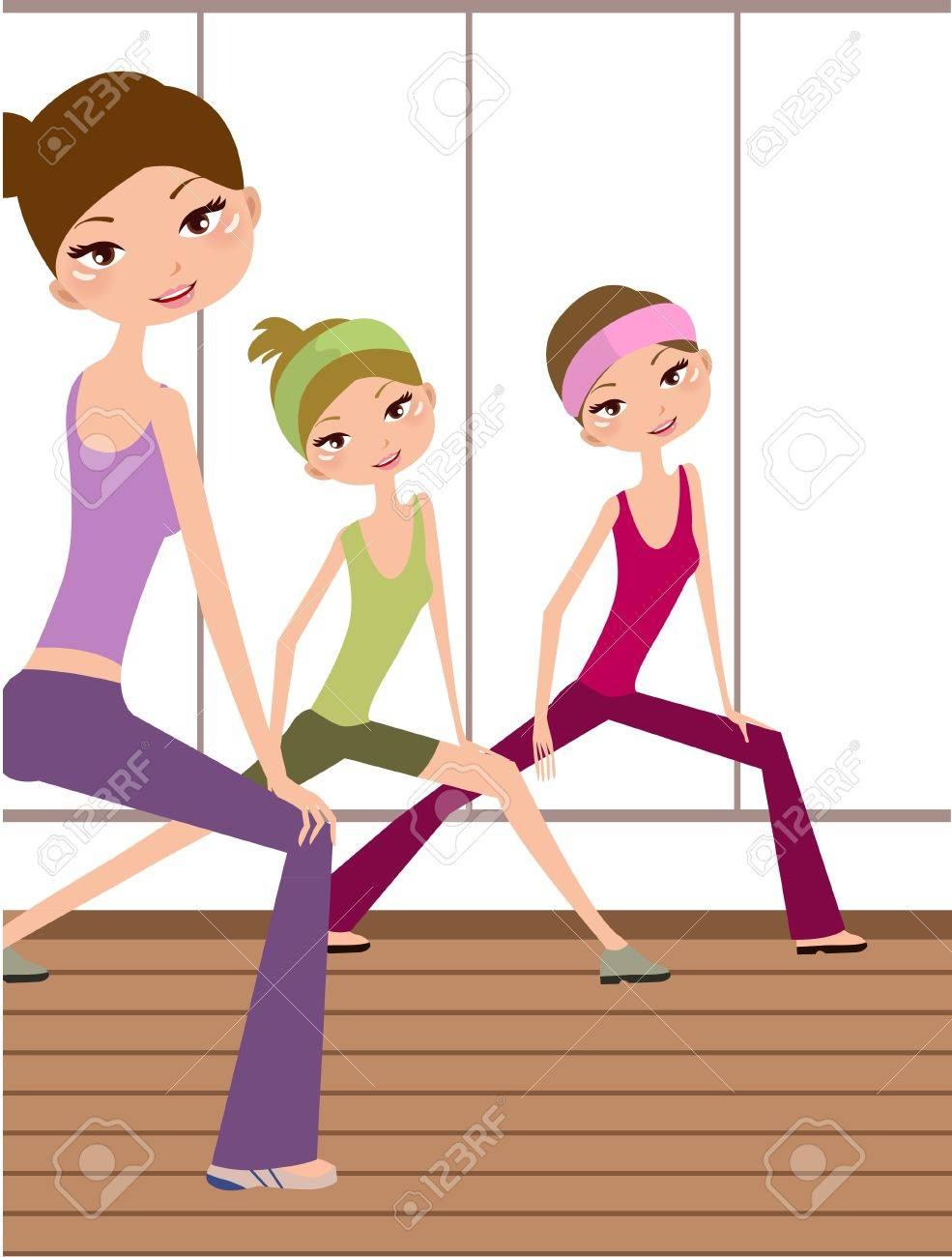 Three Young Girls Doing Yoga At Living Hall Royalty Free Cliparts ...