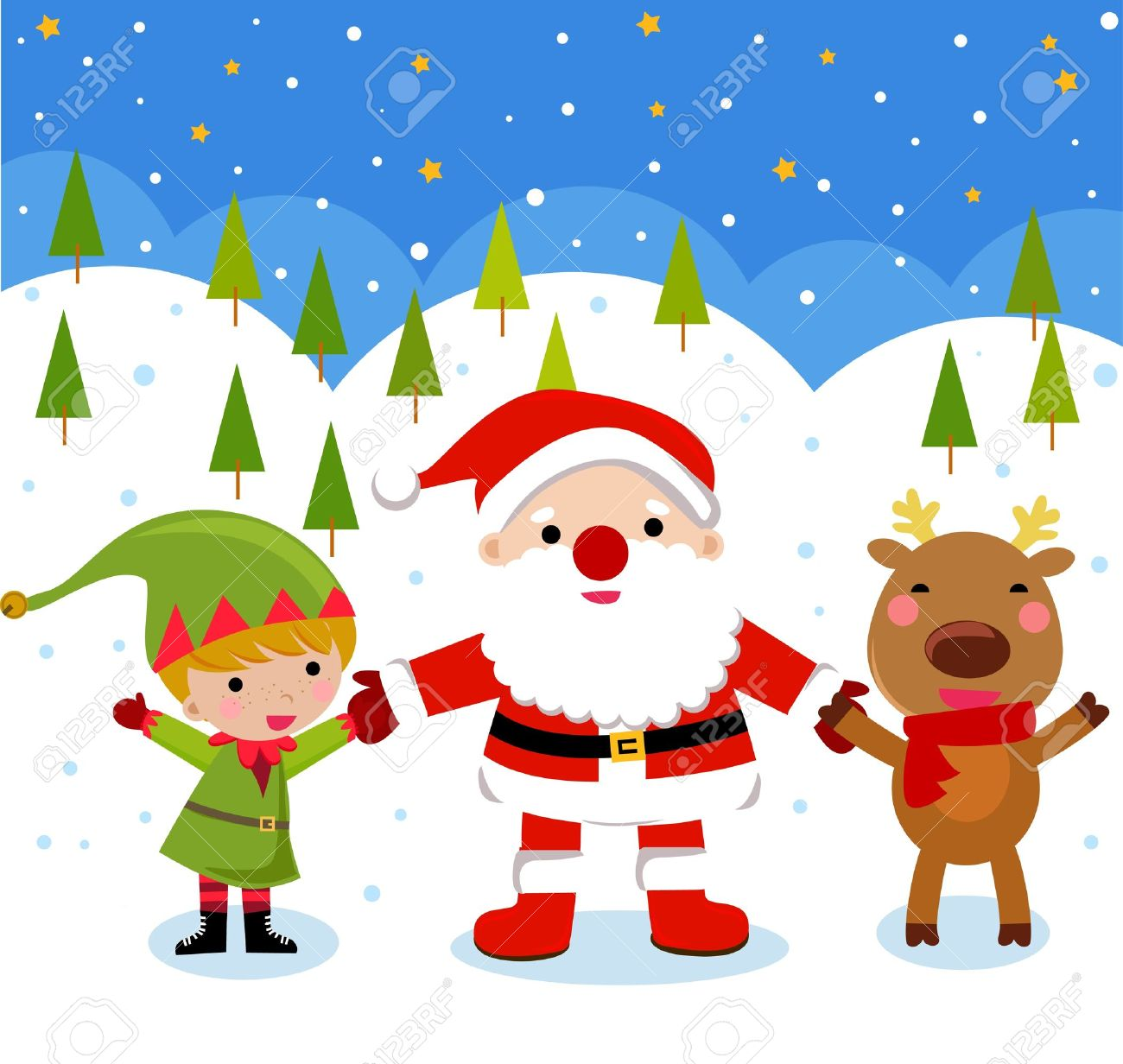 Image result for Santa and reindeer and elves