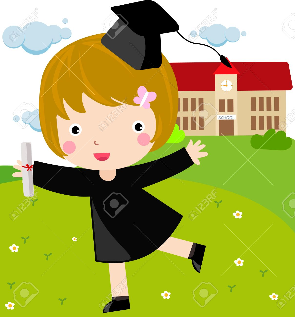 girl graduate Stock Vector - 8887585