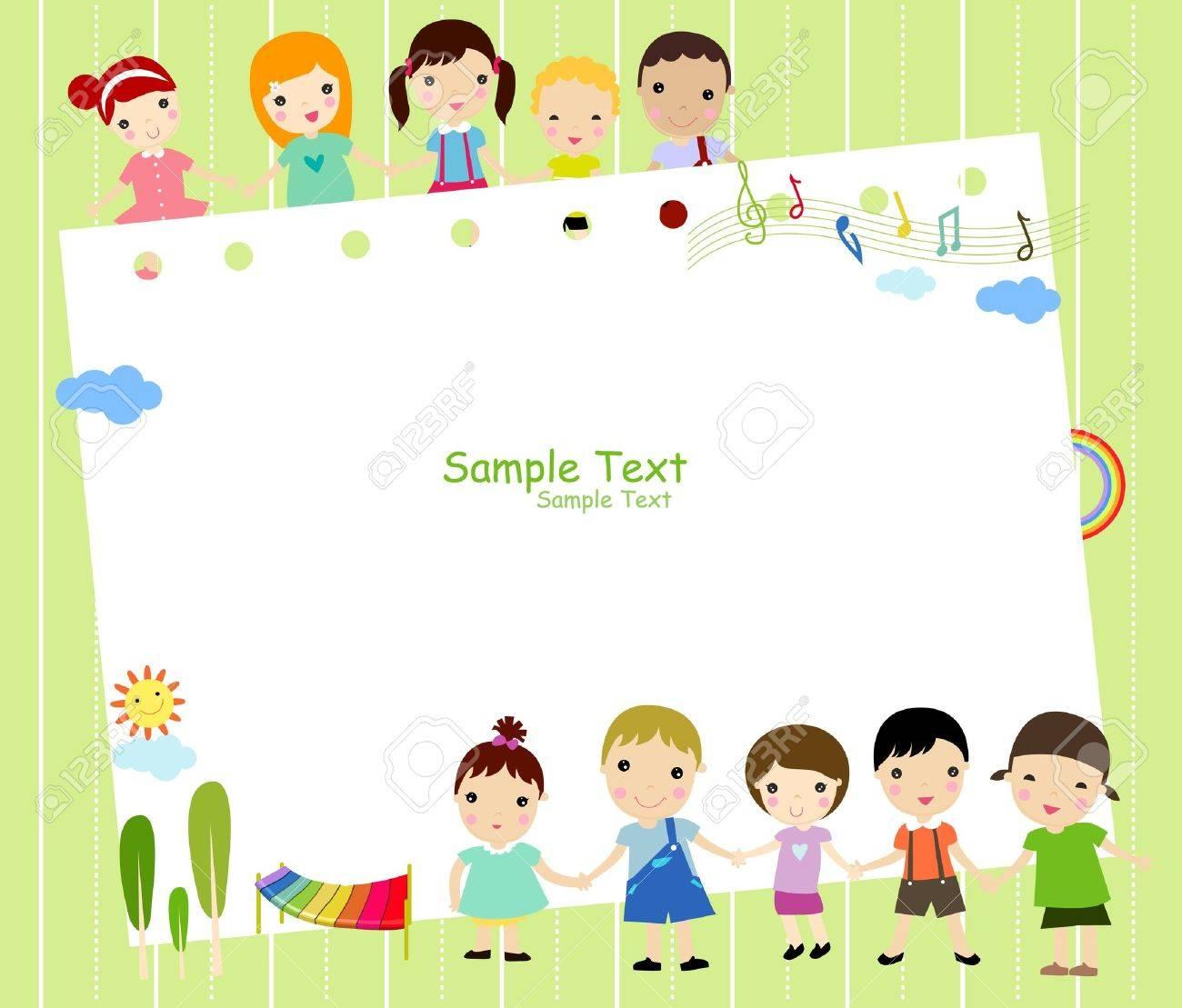 Cute cartoon kids frame Stock Vector - 8887710