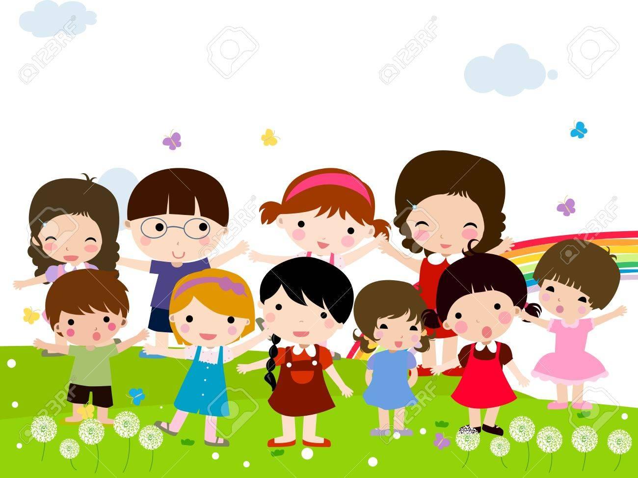 group of happy children Stock Vector - 9775383