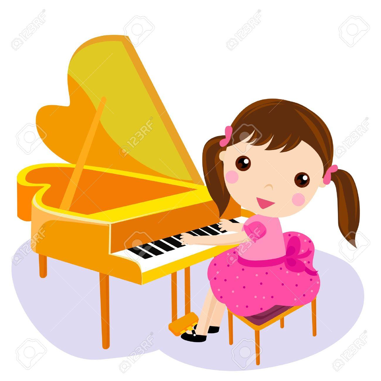 Chica Tocar El Piano Ilustración Vectorial De Dibujos Animados