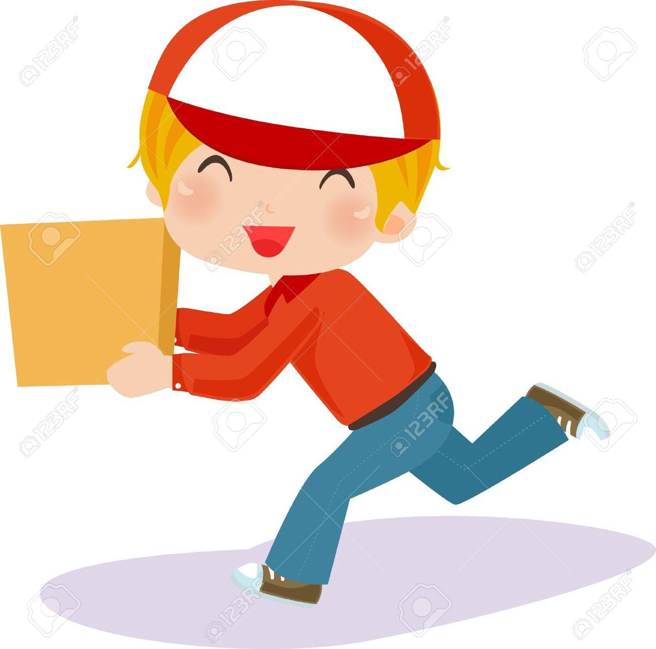 Delivery boy with box - vector illustration. Stock Vector - 9765833
