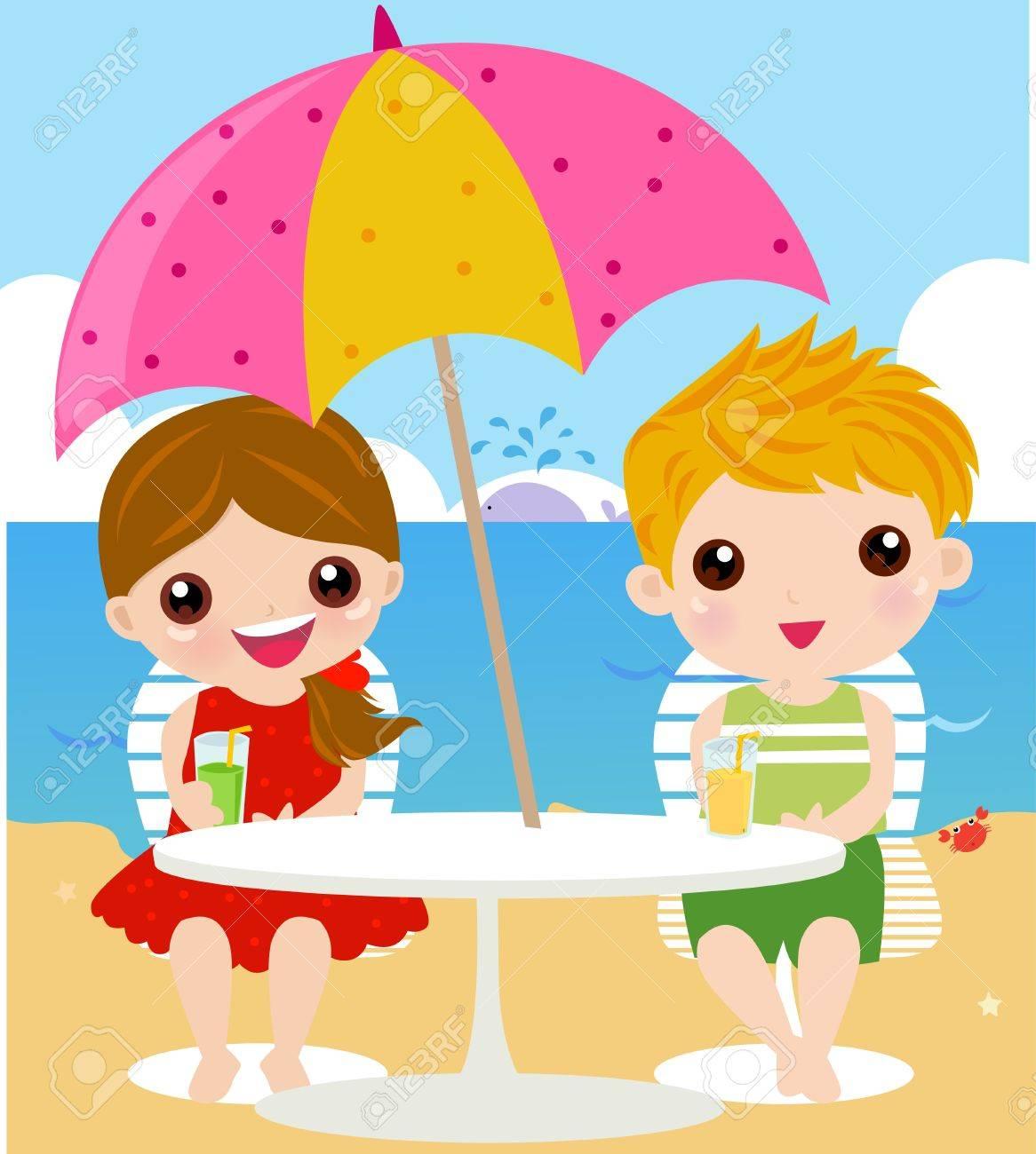 in holiday at the sea stock vector 9463427 - Holiday Cartoons Free