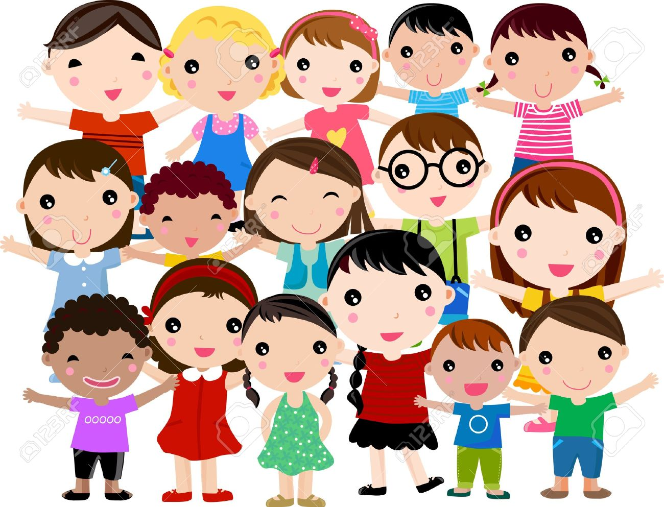 group of children stock vector 10925234 - Cartoon Image Of Children