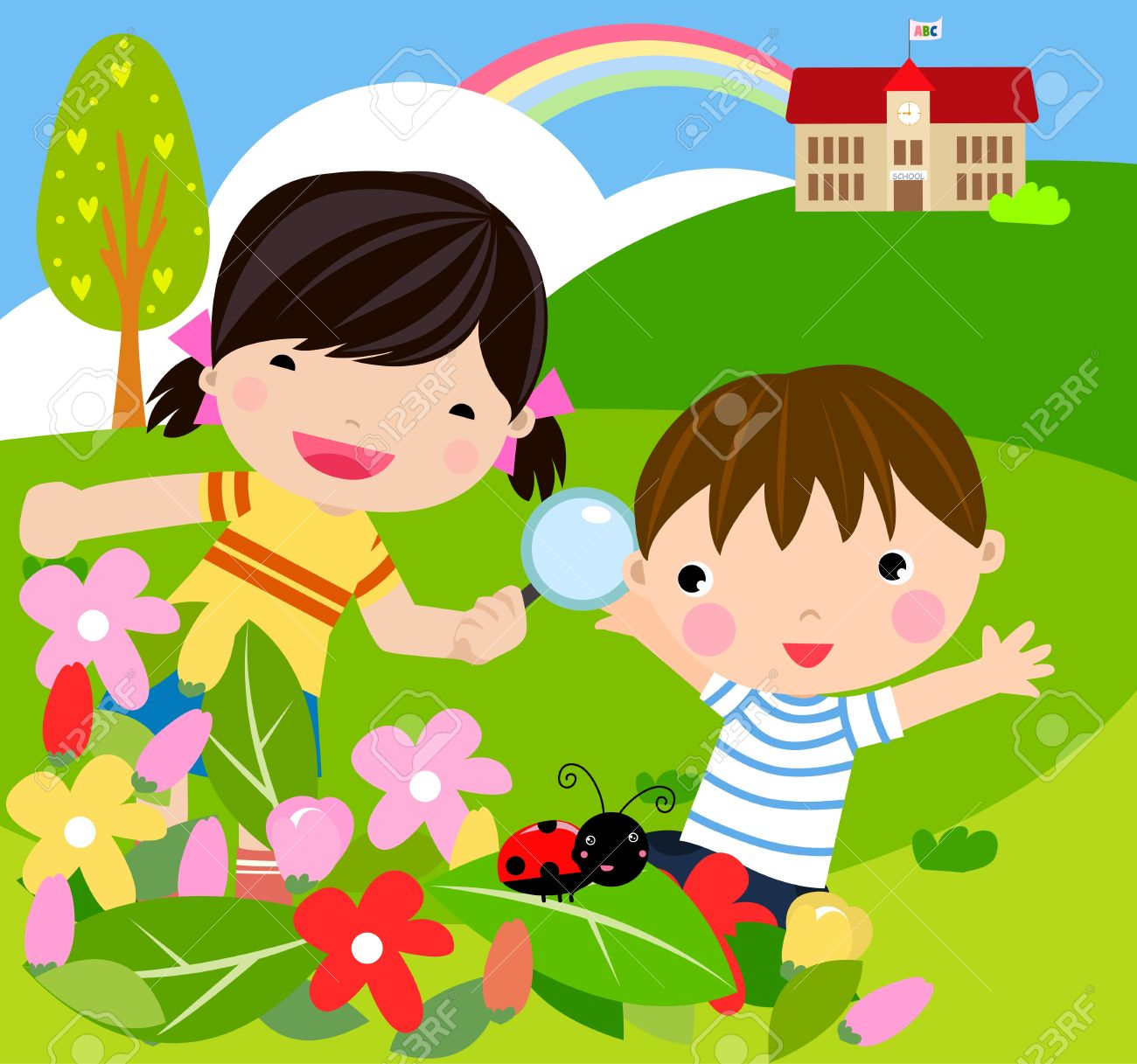 boy and girl with magnifying glass with lady bugs over Stock Vector - 11657039