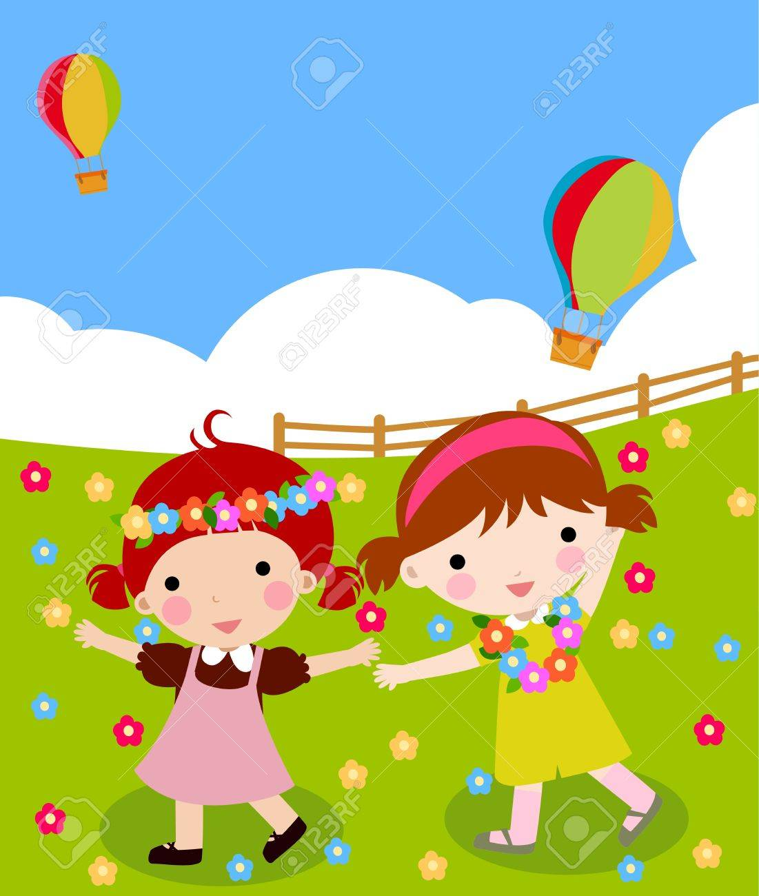 Glad kid playing. Happy childhood Stock Vector - 12161422