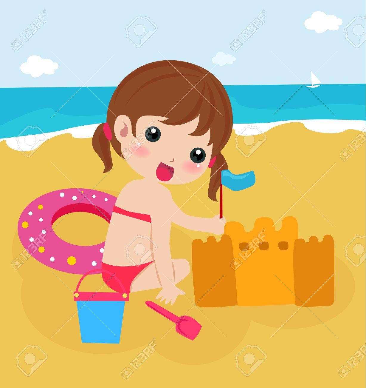 Sandburg clipart  Kleines Mädchen Baut Eine Sandburg Am Strand Lizenzfrei Nutzbare ...