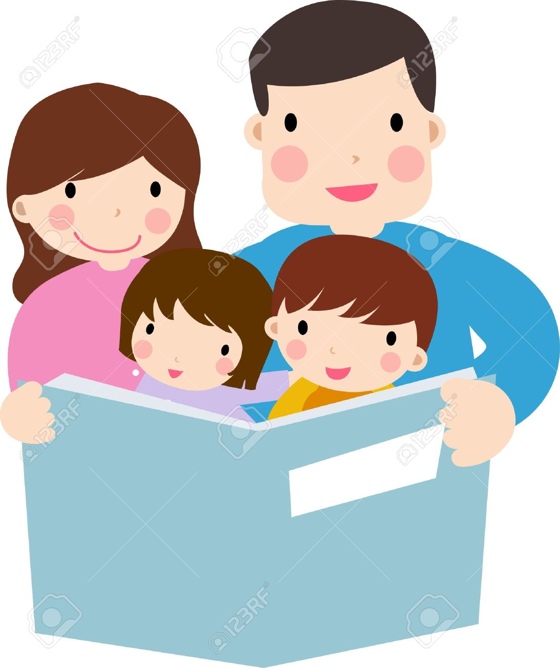 Family Reading Clipart